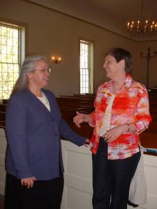 A photo of Gwyneth Walker with Debra Morris-Bennett